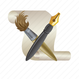 brush, paper, pen, pencil, tool icon