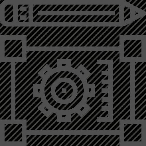 blueprint, construction, design, gear, pencil, tool icon