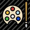color palette, paintbrush, art and design, artist, paint