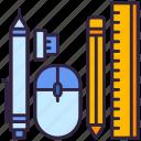 mouse, pen, pencil, ruler, school icon