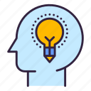 head, idea, pencil, light icon