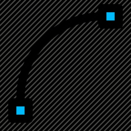curve, curve tool, path, vector path icon