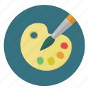 brush, colours, design, drawing, graphic, painting, pallet, round, tools icon