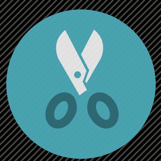 cut, design, graphic, round, scissors, slice, tool, tools icon