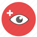 correction, design, eye, graphic, plus, red, round, tool icon