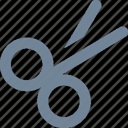 cut, design, graphic, haircut, line, scissors, tool icon