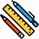 pen, pencil, ruler, stationary, tools icon