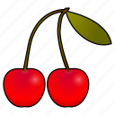 cereza, cerises, cherries, cherry, cooking, food, fruit icon