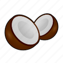 coco, coconut, cooking, food, fruit, kokosnuss, tropical icon