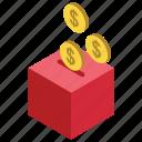coin box, business finance dollar coin, money box, savings box icon