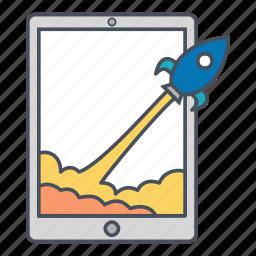 ipad, ipad pro, rocket, start, startup icon