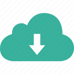 arrow, bottom, cloud, down, download icon