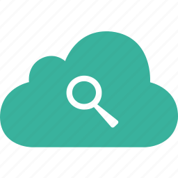 cloud, find, glass, magnifier, search, zoom icon