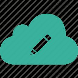 cloud, edit, pen, pencil icon