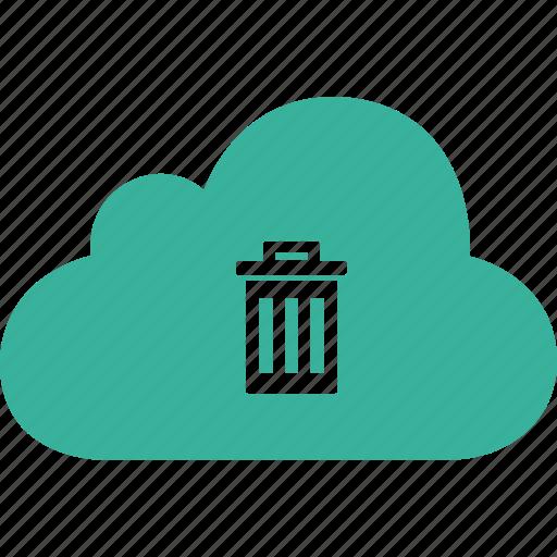 cloud, delete, dust, dustbin, remove, trash icon