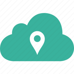 cloud, direction, pin, place, pointer, position icon