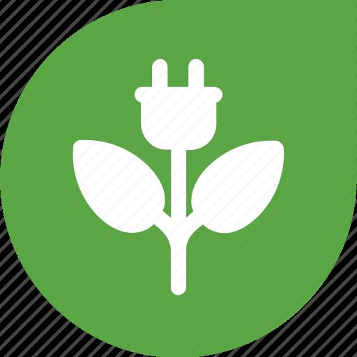 eco, flower, green, plug icon