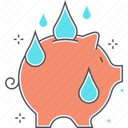 green, pig, pink, saving, water icon