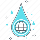 business, drop, energy, globe, hydro, water icon