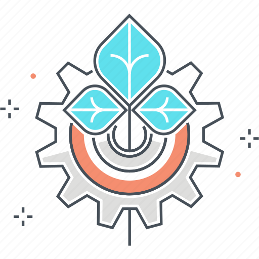cog, energy, gear, green, nature, technology icon