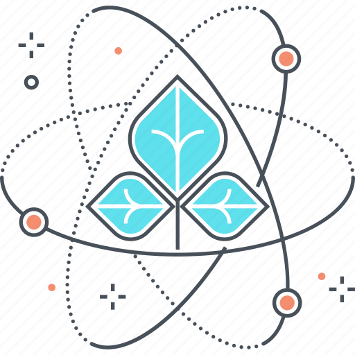 atom, energy, green, leaf, science icon