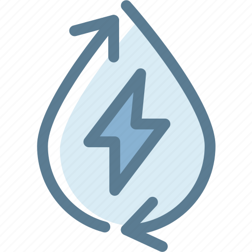 ecology, energy, green, hibrit, power, water, water energy recycle icon