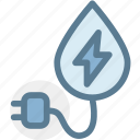 eco, ecology, energy, green, industry, plug, water energy icon