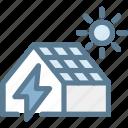 ecology, energy, green, green energy, house electricity, solar house, sun