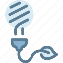 ecology, electricity, energy, fluorescent light bulb, green energy, renewable, sustainability icon