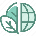 eco, ecology, globe green, green, leaf, nature, plant icon