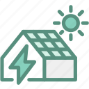ecology, energy, green, green energy, house electricity, solar house, sun icon