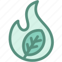 burn, ecology, fire, green, green fire, leaf, wild icon