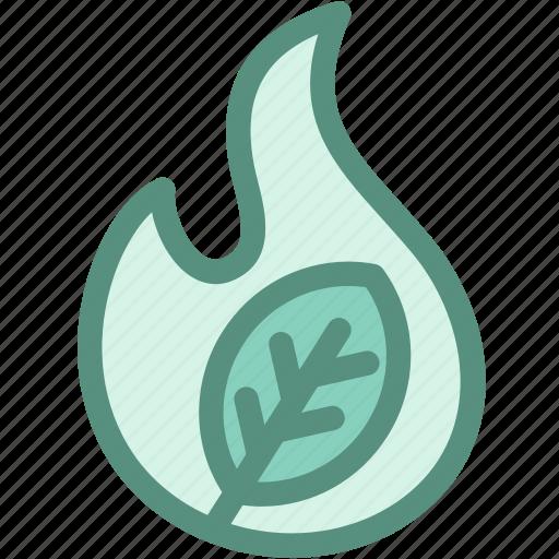 burn, ecology, fire, green, green fire, leaf, wild icon
