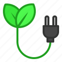 cable, ecology, electric, energy, green, leaf icon