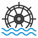 building, ecology, energy, green, power, water, wheel icon