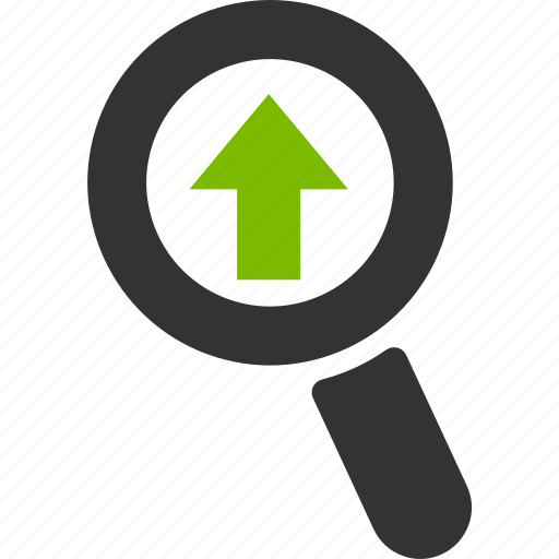 arrow, glass, magnifier, search, upload, zoom icon