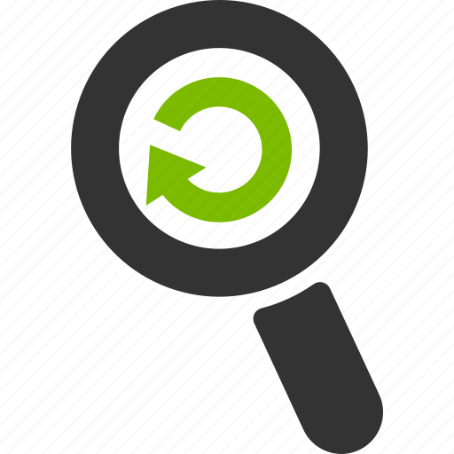 arrow, glass, magnifier, refresh, reload, search, zoom icon