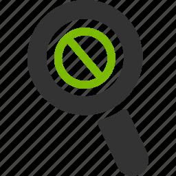 ban, delete, glass, magnifier, remove, search, zoom icon