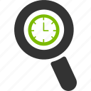 alarm, clock, glass, magnifier, search, time, zoom icon