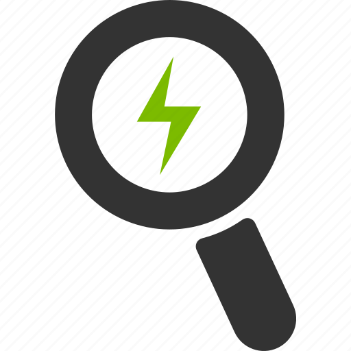 battery, charge, glass, magnifier, power, search, zoom icon