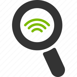 glass, magnifier, search, signal, tower, wifi, zoom icon
