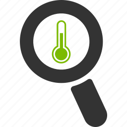 glass, magnifier, search, temperature, thermometer, zoom icon