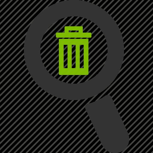 delete, glass, magnifier, remove, search, trash, zoom icon