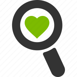 glass, heart, love, magnifier, search, zoom icon