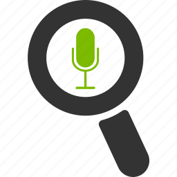 glass, magnifier, mic, search, sound, speaker, zoom icon