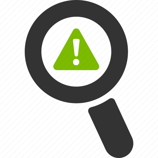 caution, error, glass, magnifier, search, warning, zoom icon
