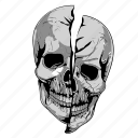 cartoon, grey, skulls icon