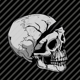 cartoon, grey, skulls icon
