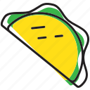mexican, mexico, quesadilla, taco icon