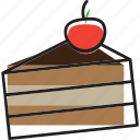 cake, cherry, pastel, patisserie, pie, slice icon